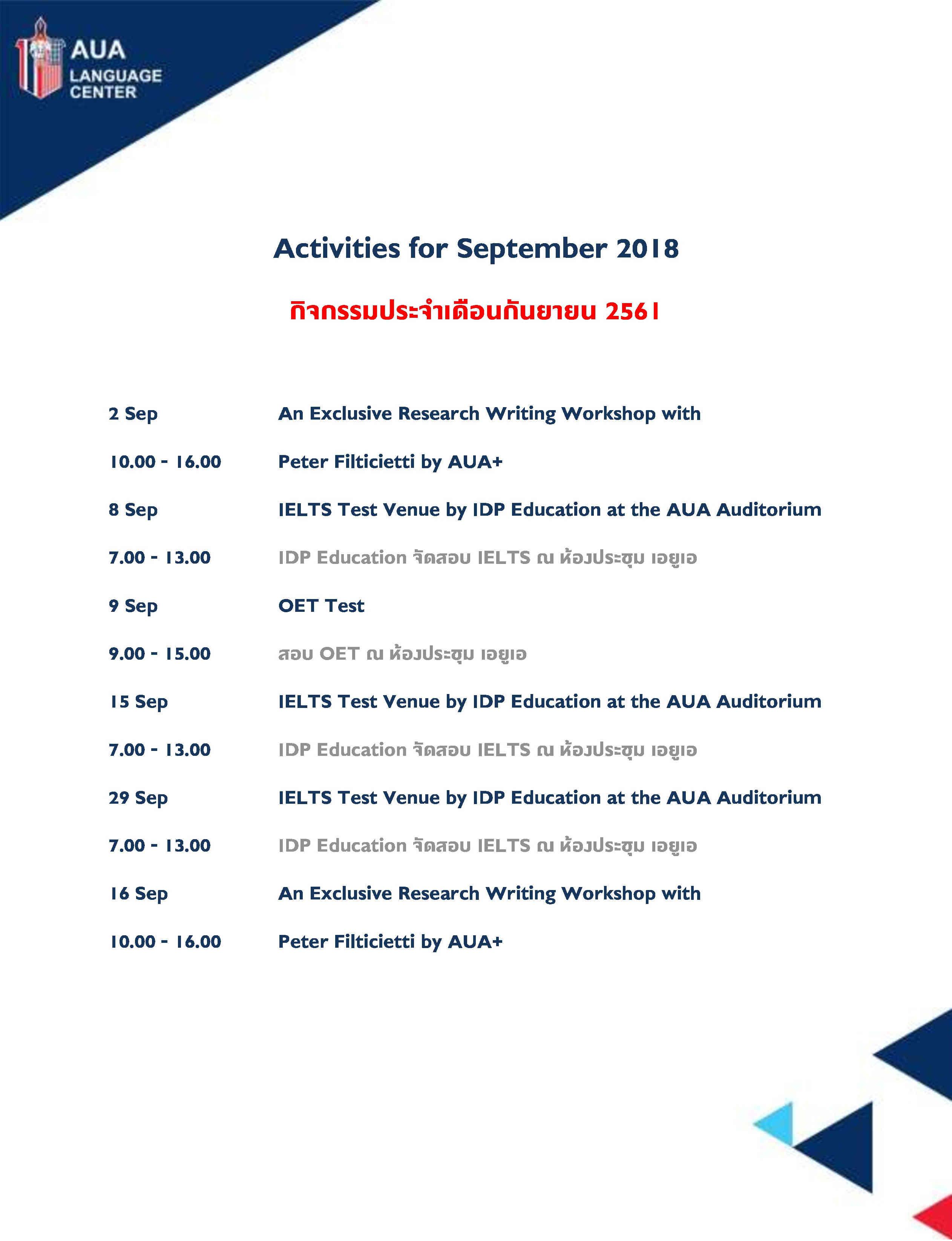 Chamchuri September 2018 Activities
