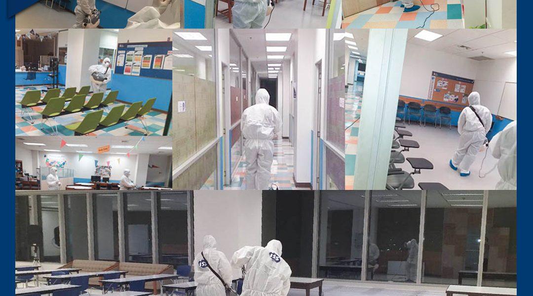 การทำความสะอาดพื้นที่บริเวณโรงเรียน